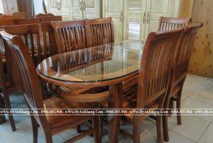 Bộ bàn ăn oval gỗ xoan đào tự nhiên