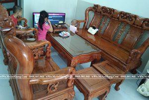Ảnh đại diện bộ bàn ghế gỗ hương 8 món tay 12