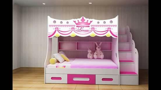 Giường ngủ 2 tầng trẻ em đẹp giá rẻ TPHCM, giường ngủ kitty dành cho  2 bé gái