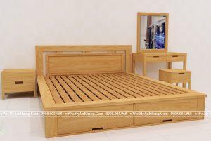Giường ngủ 2 ngăn kéo cuối giường gỗ sồi Nga