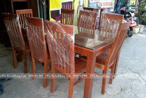 Bộ bàn ăn mặt kính 6 ghế gỗ xoan đào