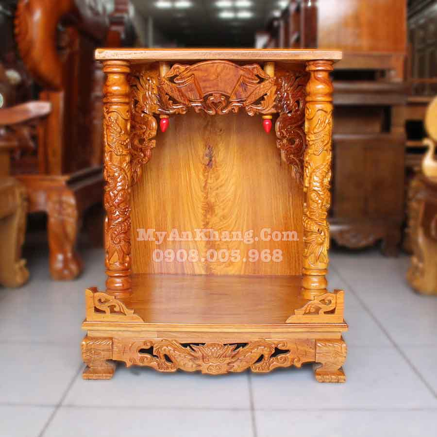 bàn thờ ông địa thần tài ngang 60cm gỗ gõ đỏ