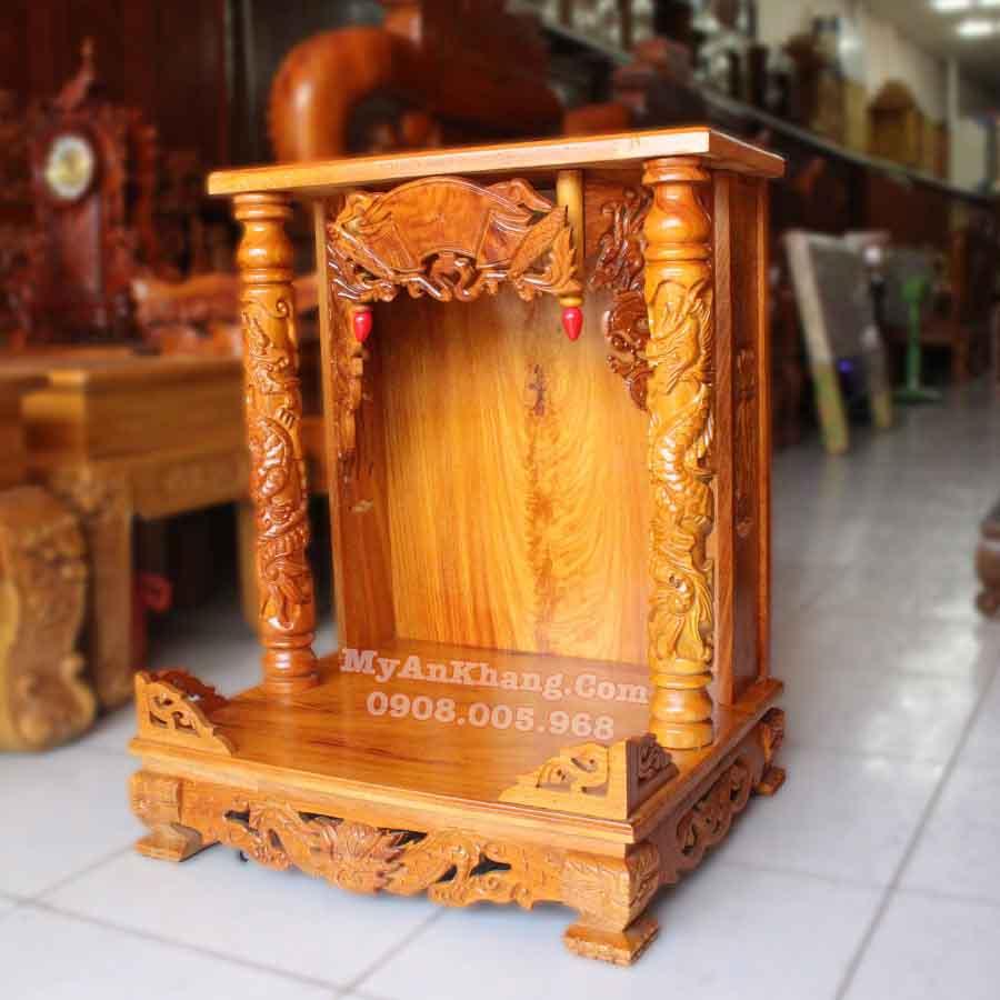 Bàn thờ ông địa thần tài ngang rộng 60cm gỗ gõ đỏ mái bằng đẹp TPHCM