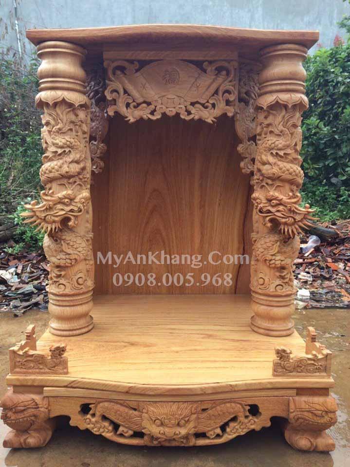 Bàn thờ ông địa thần tài gỗ tự nhiên mái bằng cao cấp ngang 81 cao 108