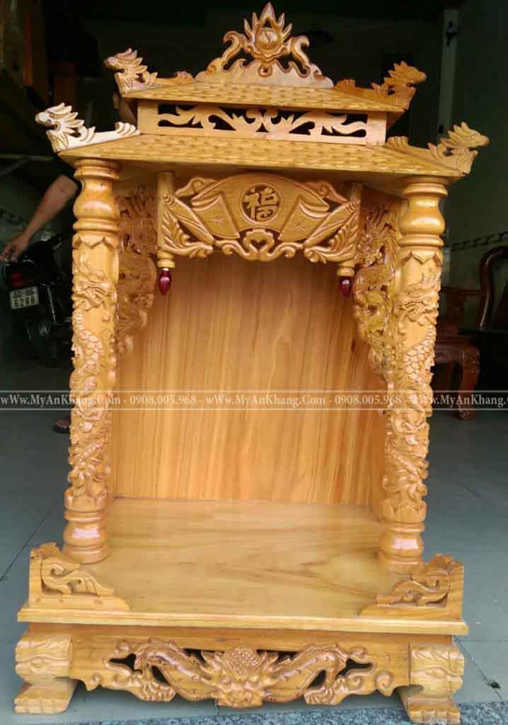 Bàn thờ ông địa thần tài mái chùa gỗ gõ đỏ TPHCM