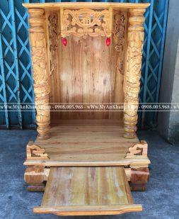 Bàn thờ ông địa thần tài mái bằng 60 gỗ xoan đào giá rẻ