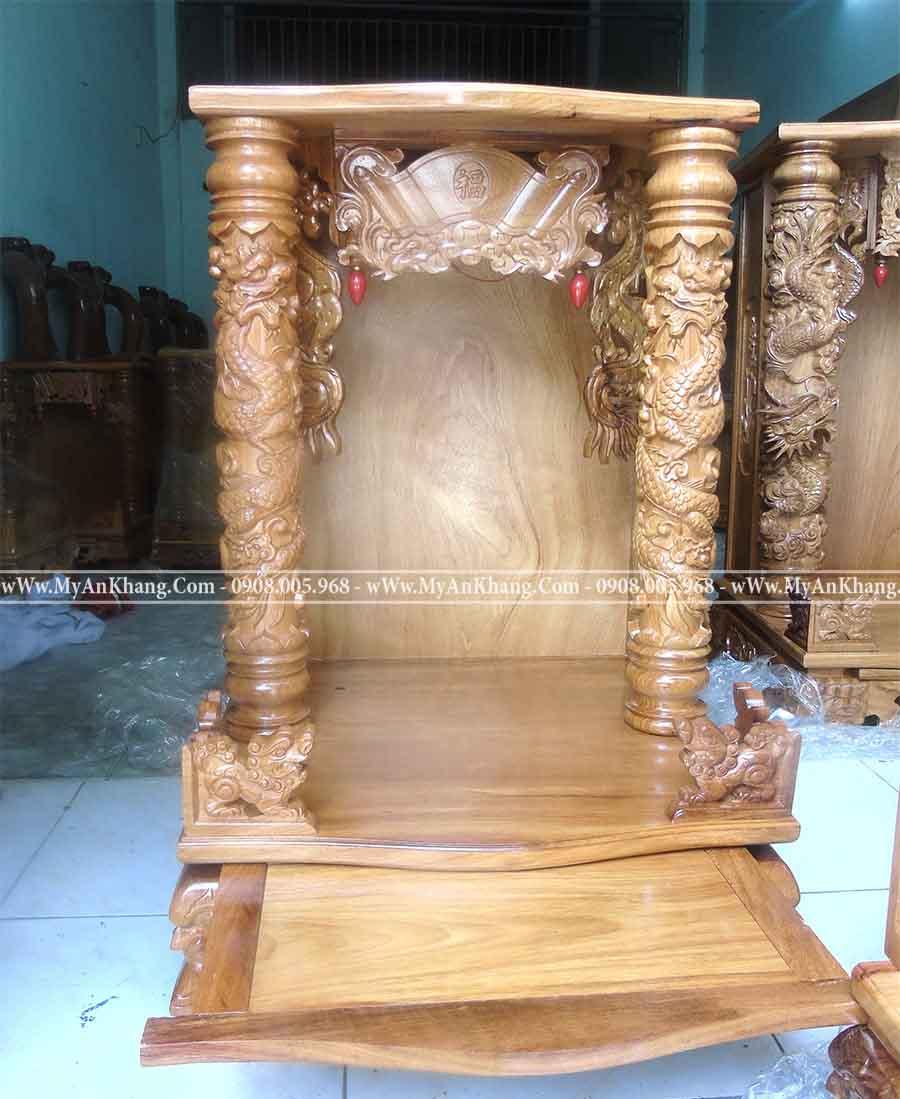 Bàn thờ thần tài ông địa mái bằng 60 gỗ gõ đỏ