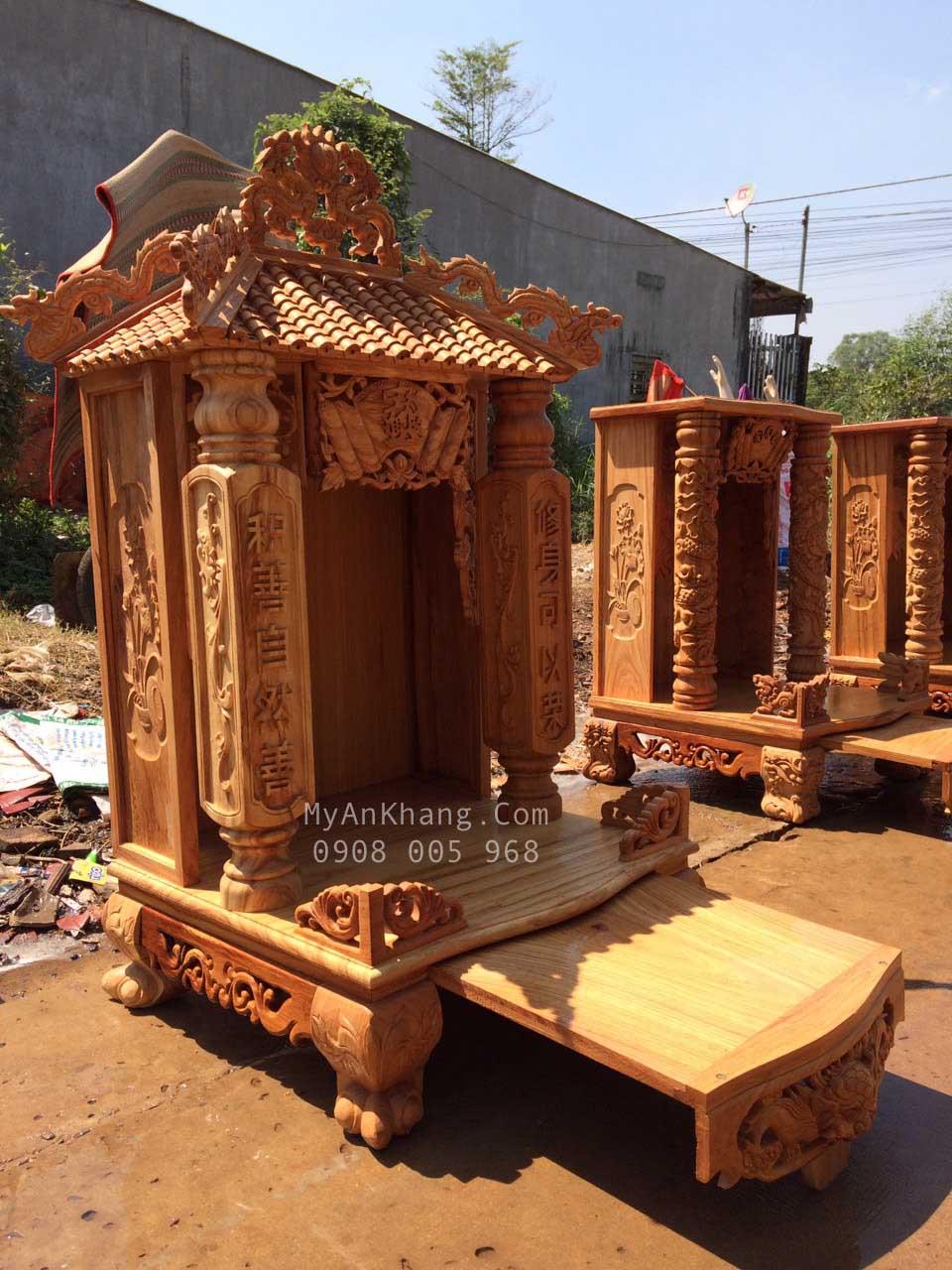 Bàn thờ ông địa mái chùa đẹp 1 mái ngang 60 x cao 117cm