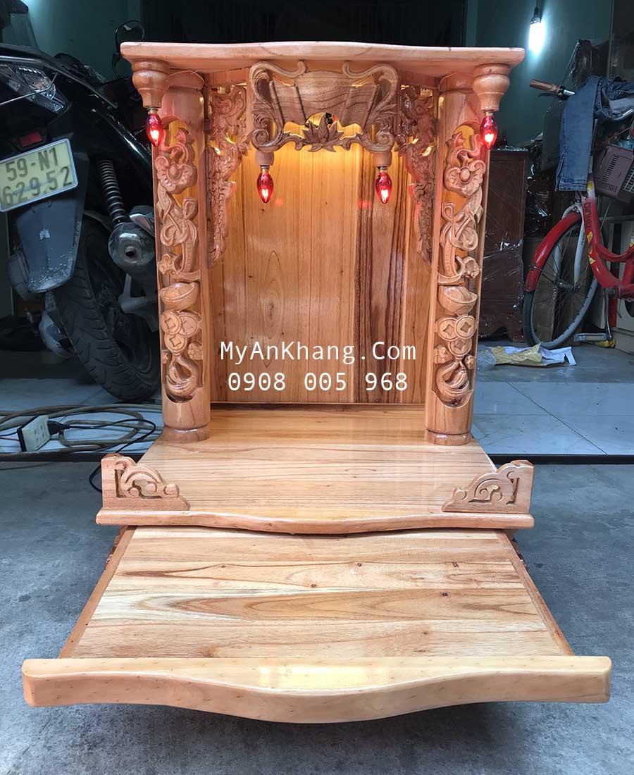 Bàn thờ thần tài gỗ xoan đào giá rẻ kích thước 48 48 68