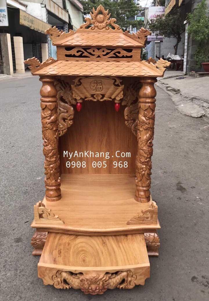 Bàn thờ thần tài giá rẻ mẫu mái chùa kt 48 gỗ gõ đỏ