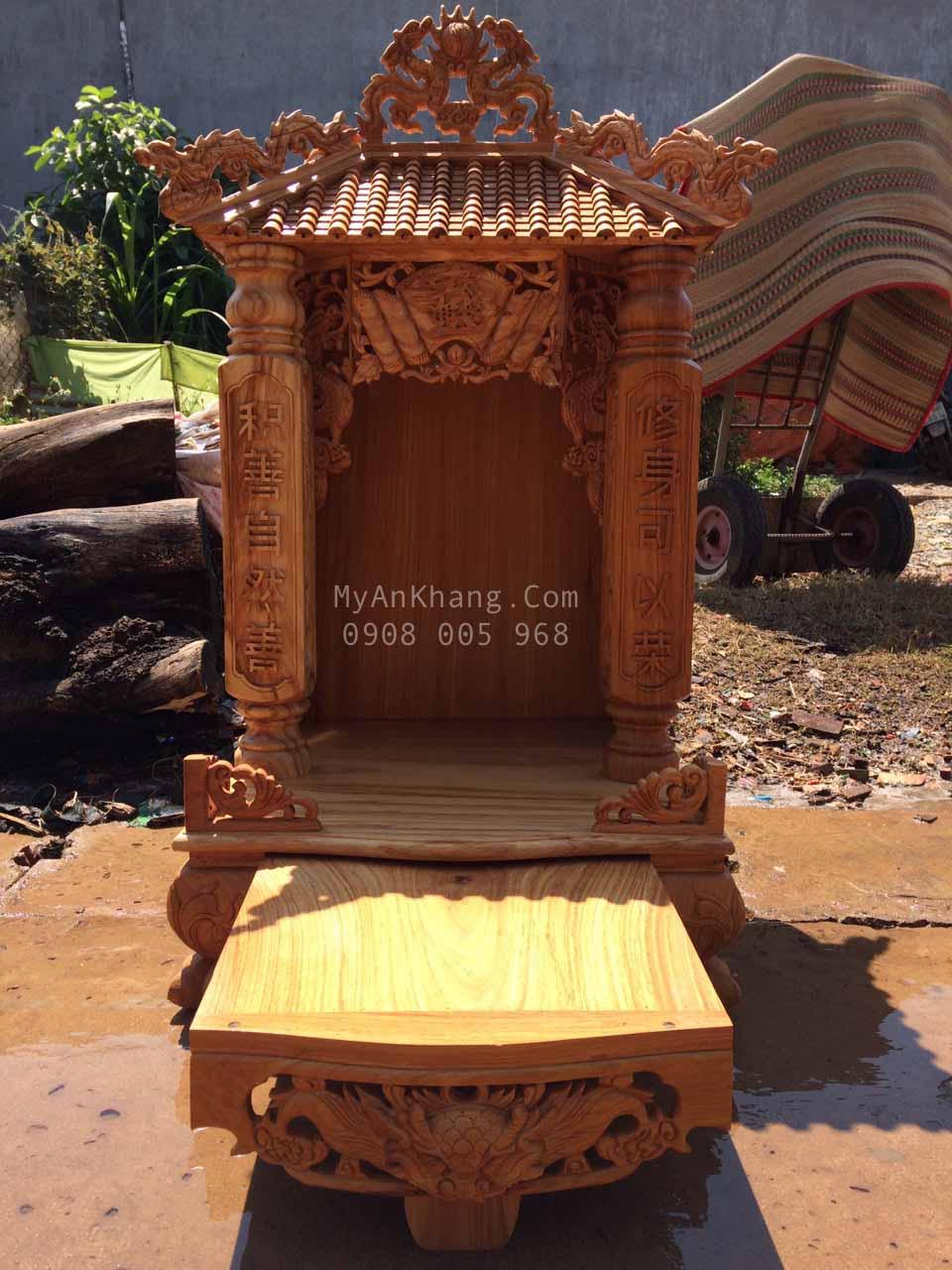 Bàn thờ thần tài mái chùa 1 mái ngang 60 x cao 117cm đẹp