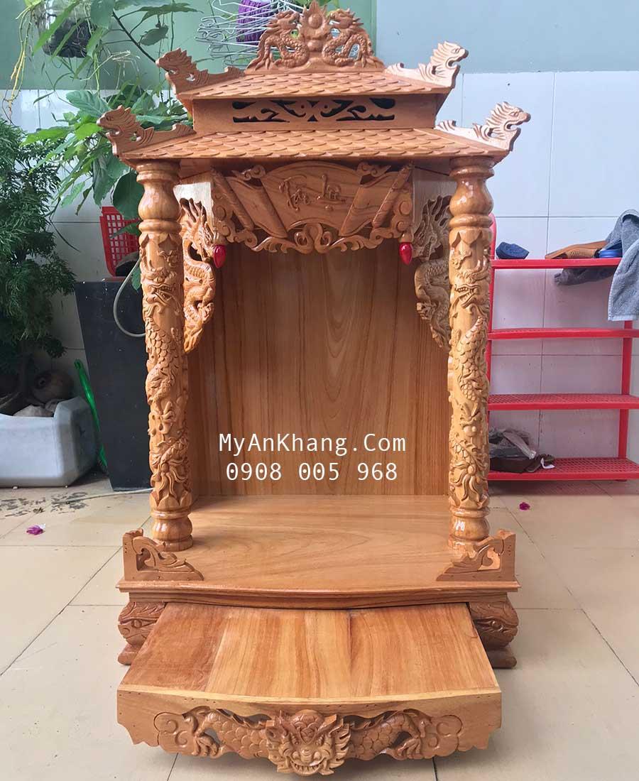 Bàn thờ thần tài mái chùa gỗ gõ đỏ giá rẻ