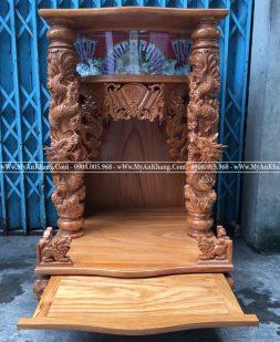 Bàn thờ ông địa thần tài hộp đèn gỗ gõ đỏ 68 x 68 x 108