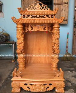 Bàn thờ thần tài ông địa mái chùa cột rồng mây ngang 68cm