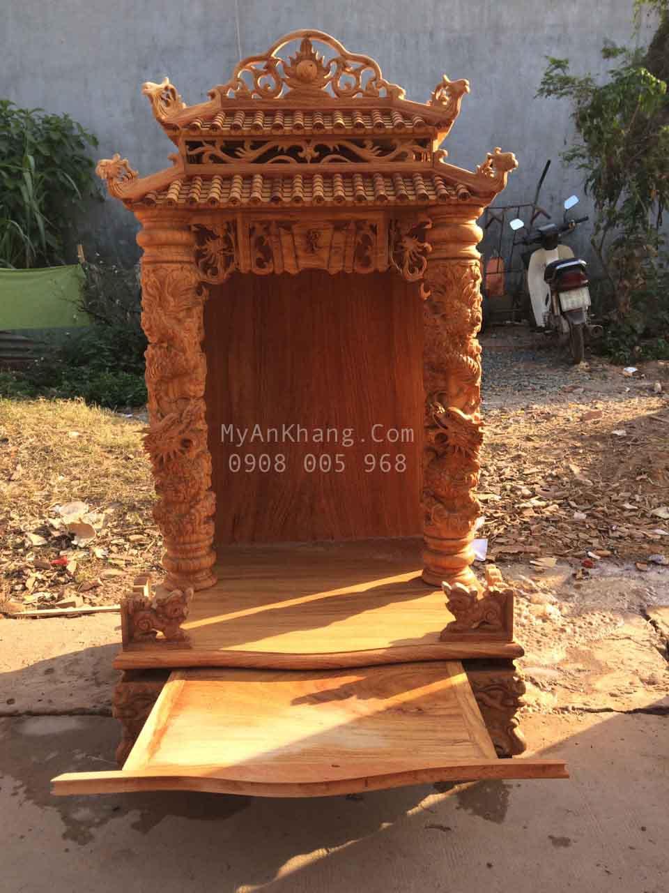 Tủ thờ ông địa mái chùa đẹp kích thước ngang 68