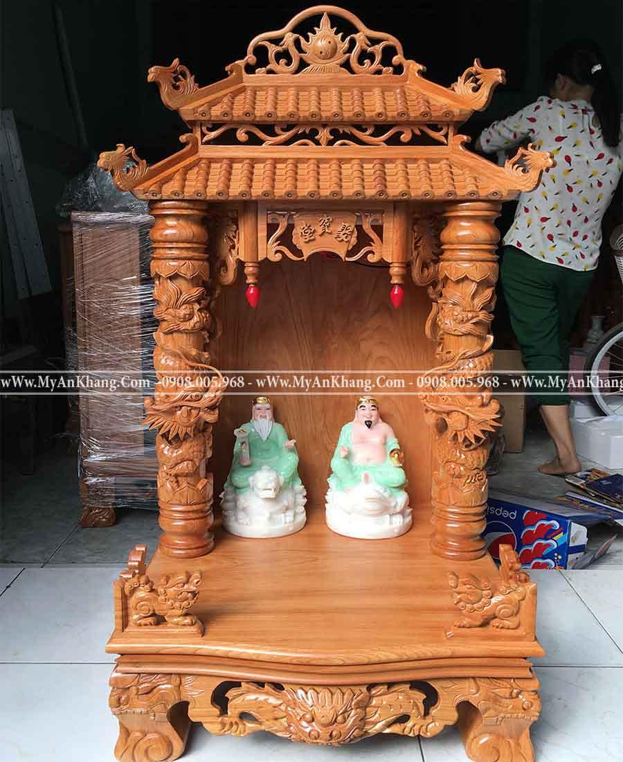 Bàn thờ ông địa mái chùa đẹp kích thước 60 x 60 x 117 cm