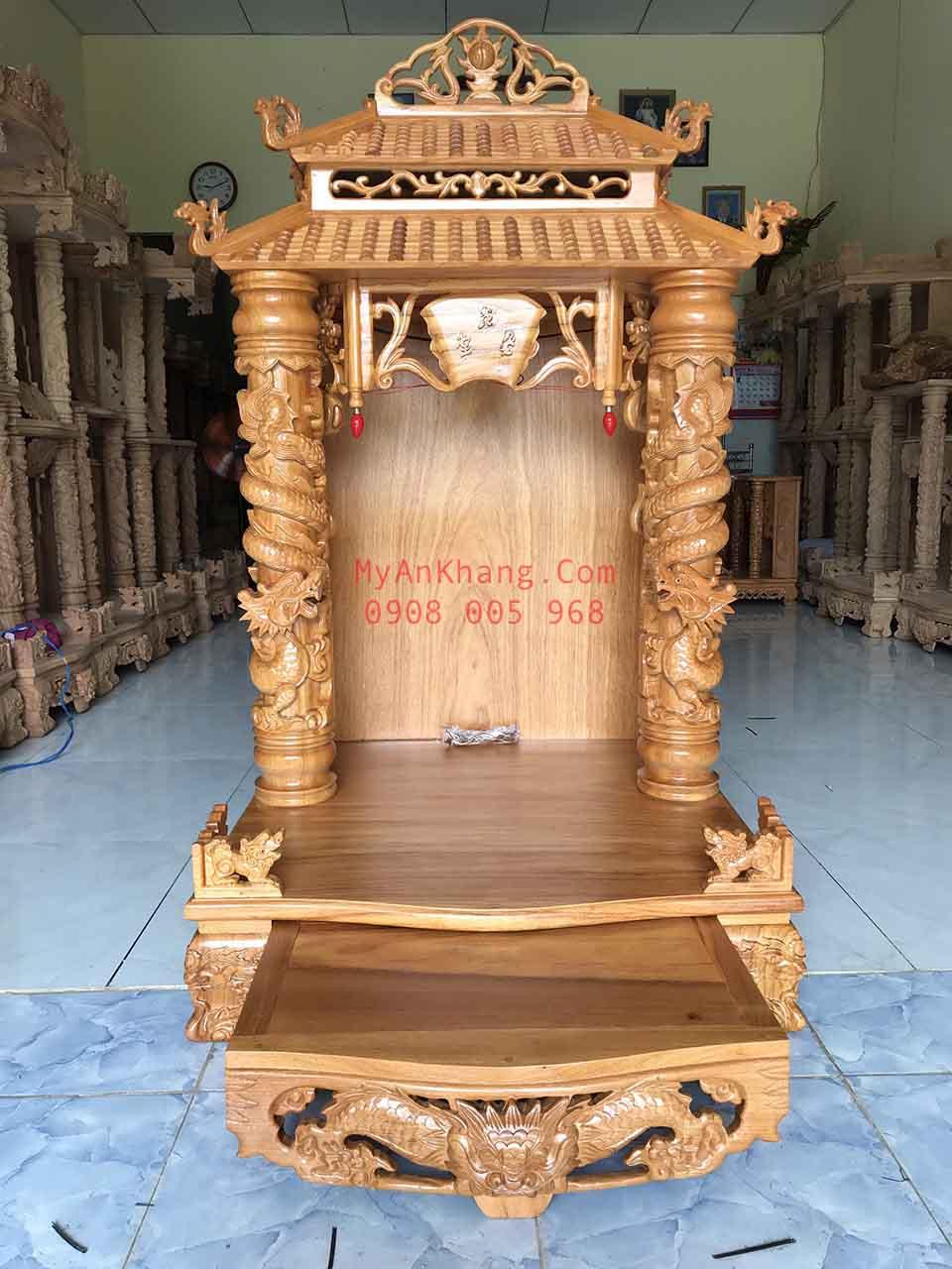 Bàn thờ ông địa thần tài mái chùa gõ đỏ 81 x 81 x 147 cm