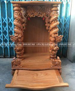Bàn thờ ông địa thần tài rồng cuộn gỗ gõ đỏ