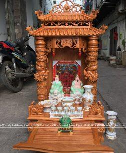 Bàn thờ thần tài mái chùa đẹp kt 60 x 60 x 117 cm Gỗ gõ đỏ