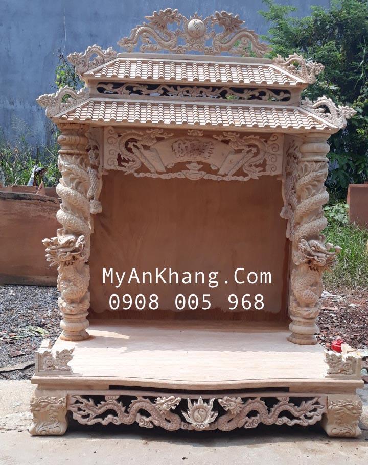Bàn thờ thần tài mái ngói ống đẹp 108cm gỗ gõ đỏ