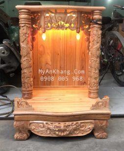 Bàn thờ ông địa gỗ xoan đào đẹp rẻ, cột tròn