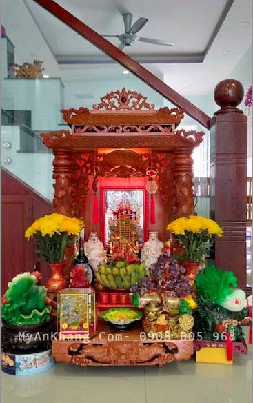 Bàn thờ ông địa thần tài mái chùa đẹp cho nhà mới