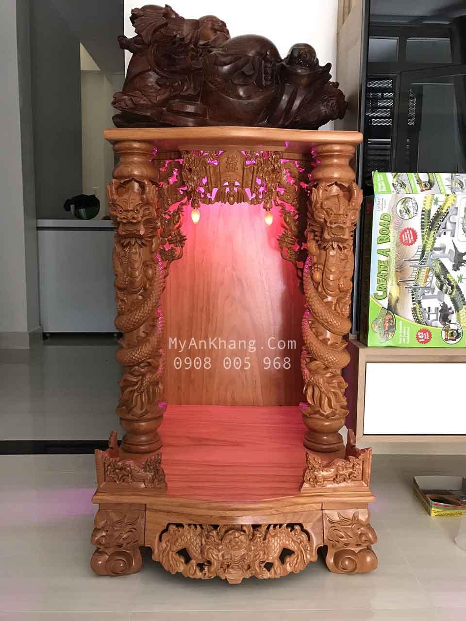 Bàn thờ thần tài đẹp gỗ gõ đỏ cột rồng BTOD-035