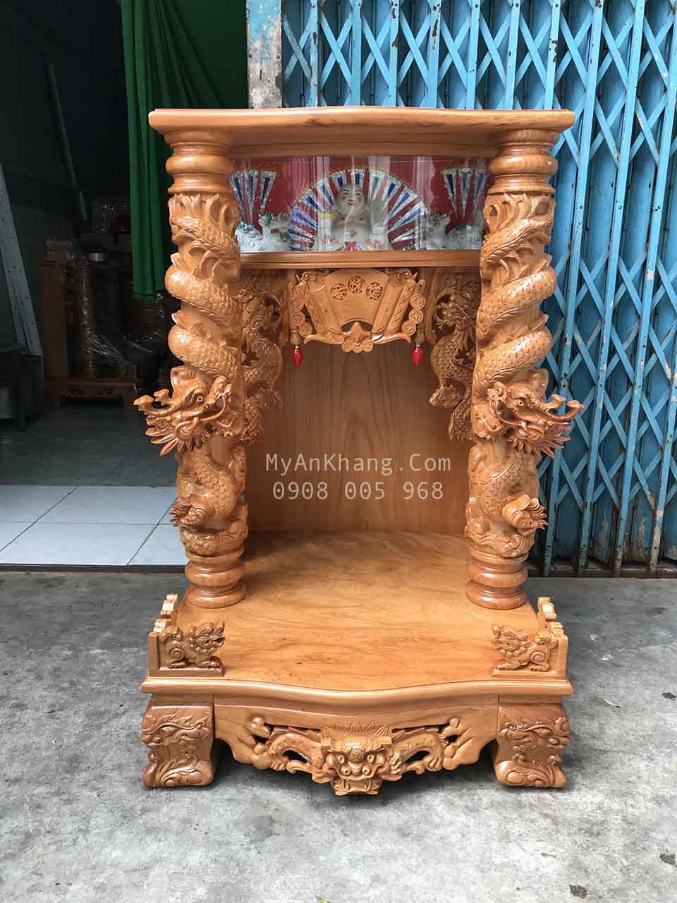 Bàn thờ thần tài đẹp hộp đèn rồng cuộn 68