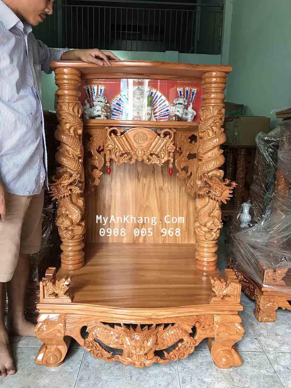 Bàn thờ thần tài ông địa hộp đèn đẹp kích thước 81 81 127 cm