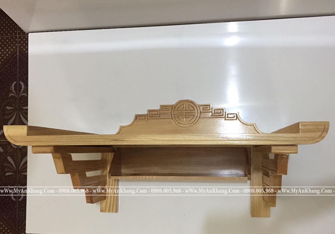 Bàn thờ treo tường gỗ sồi dáng triện