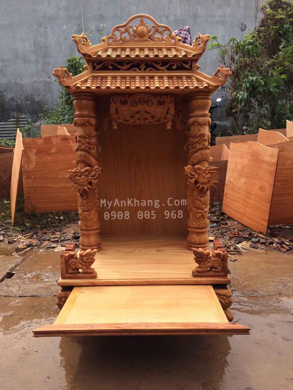 Bàn thờ ông địa mái chùa đẹp 60 x 60 x 118