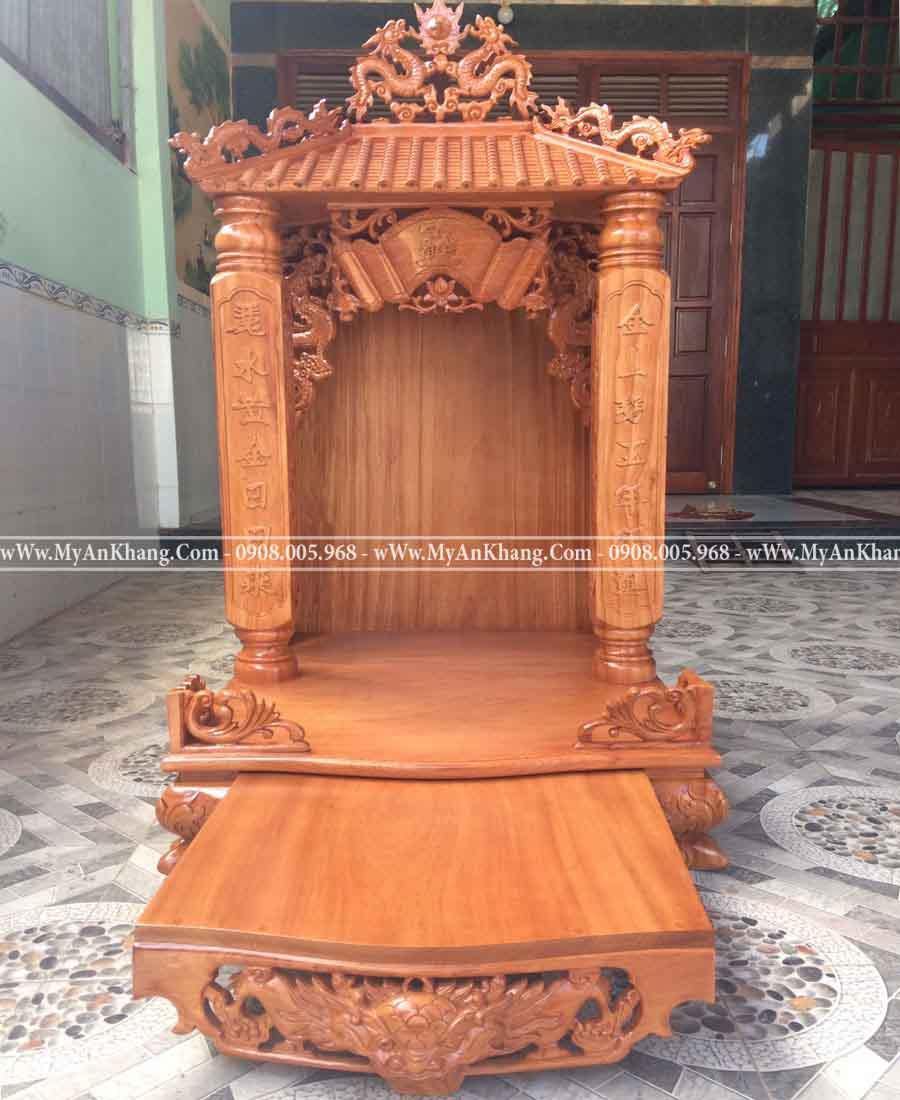 Bàn thờ thần tài mái chùa 1 mái đẹp gỗ gõ đỏ