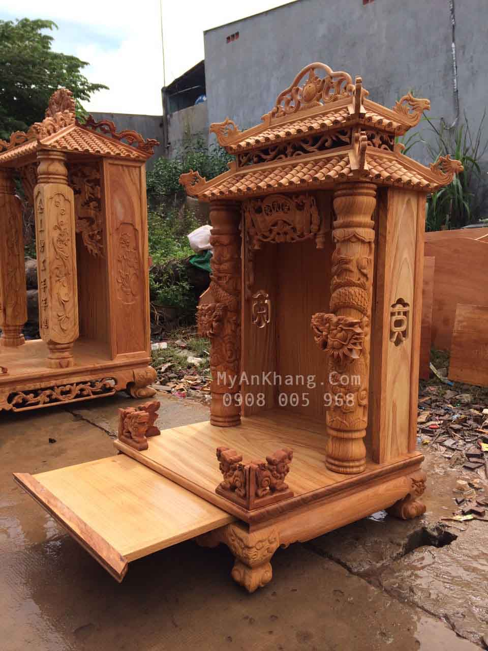 Bàn thờ thần tài mái chùa đẹp kích thước 60 x 60 x 118