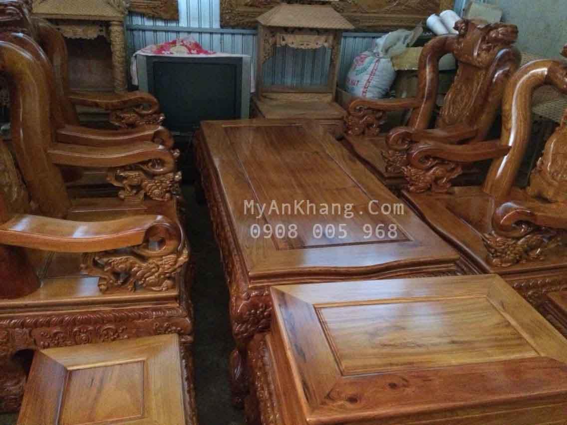 Bộ bàn ghế salon phòng khách gỗ gõ đỏ