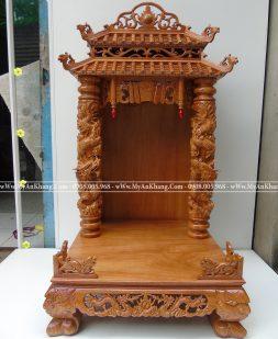 Bàn thờ ông địa mái chùa đẹp 68cm gỗ gõ đỏ