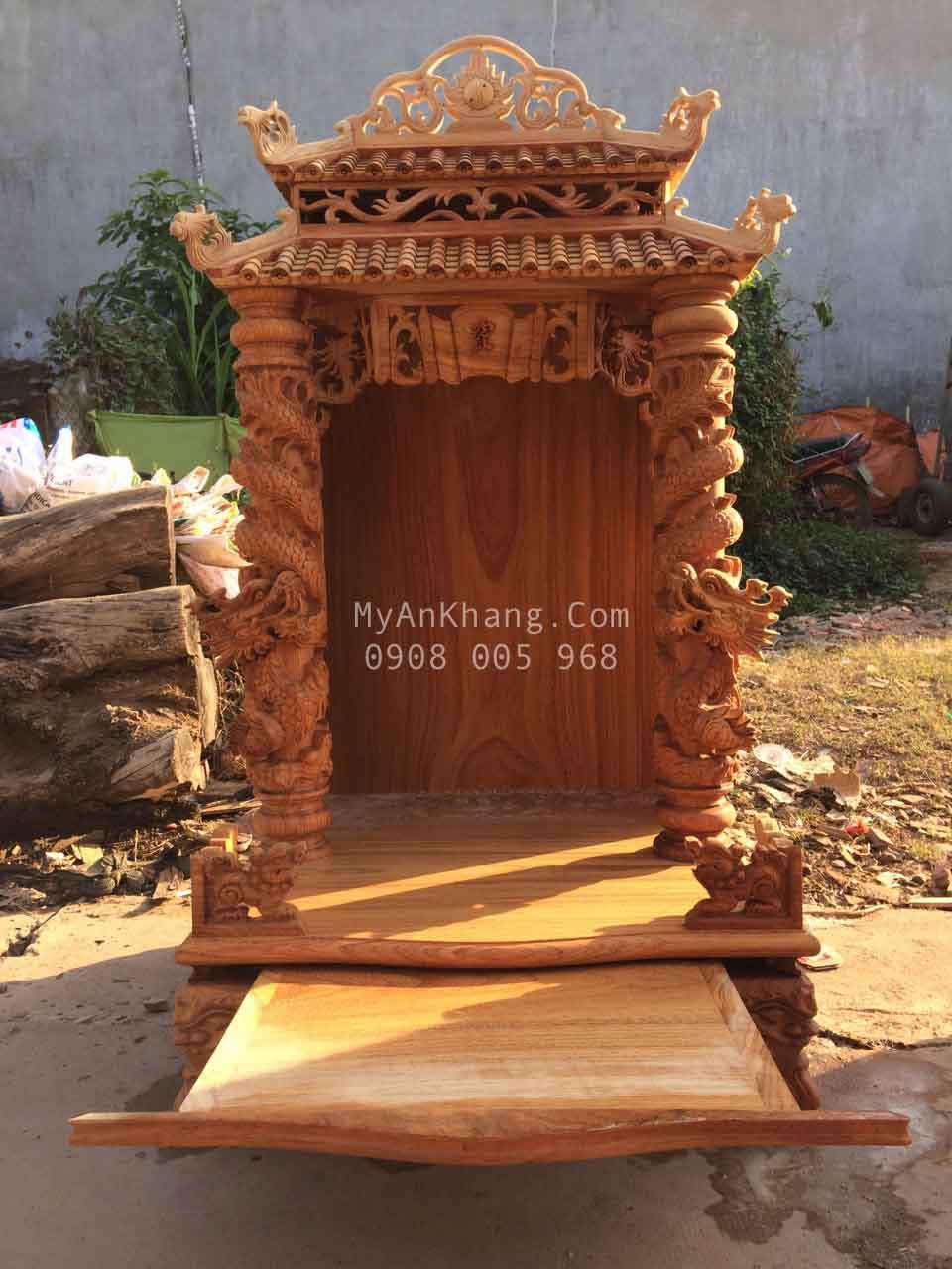 Bàn thờ thần tài mái chùa cao cấp đẹp