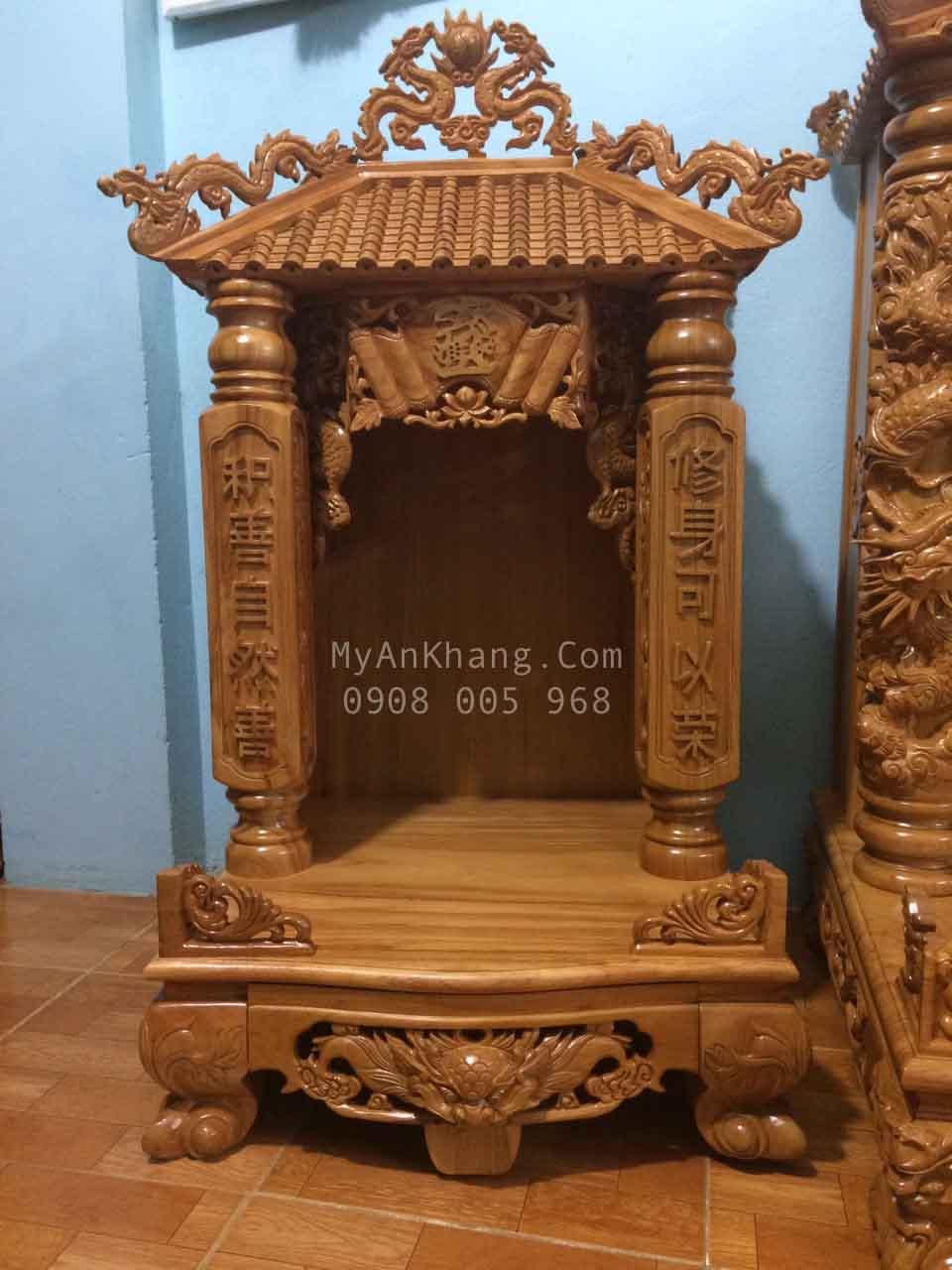Thay bàn thờ ông địa thần tài bằng gạch men sang gỗ gõ đỏ