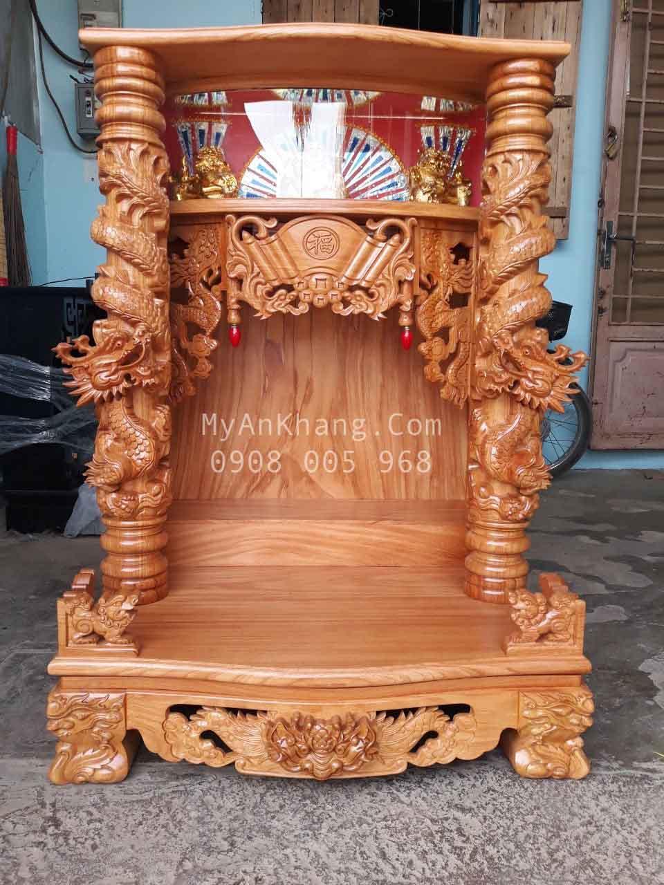 Thay bàn thờ thần tài ông địa hộp đèn cho bàn thờ đá hoa