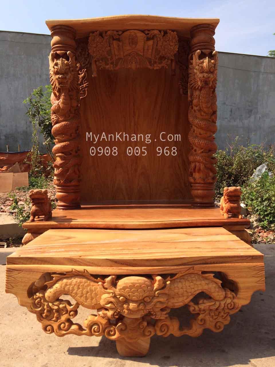 Bàn thờ ông địa đẹp độc đáo kích thước lớn 89 x 89 x 127 cm