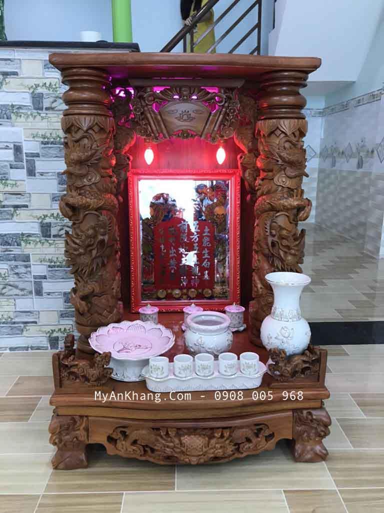 Bàn thờ thần tài ông địa đẹp gỗ hương của Mỹ An Khang thực hiện