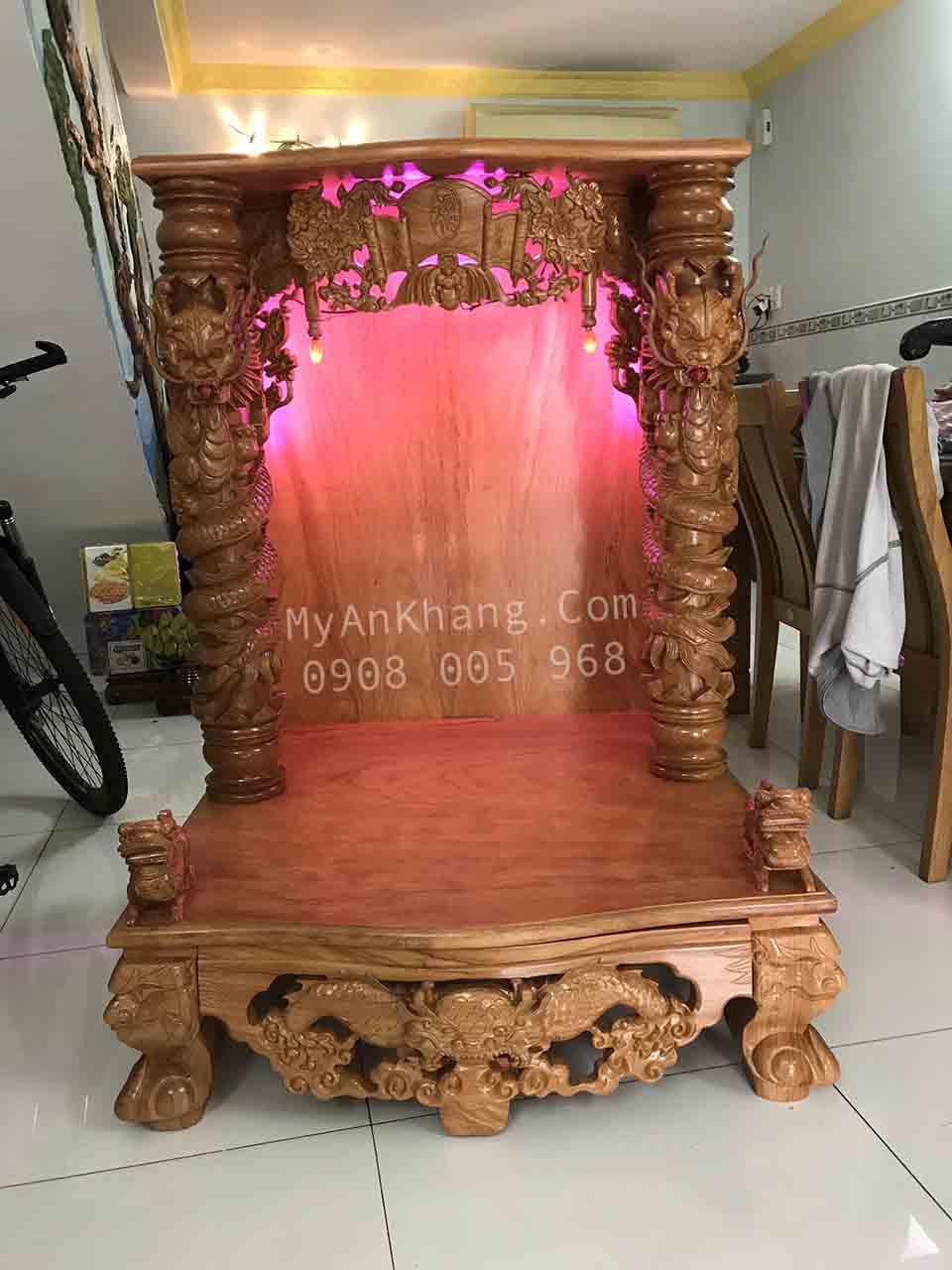 Giao bàn thờ thần tài gỗ gõ đỏ đẹp