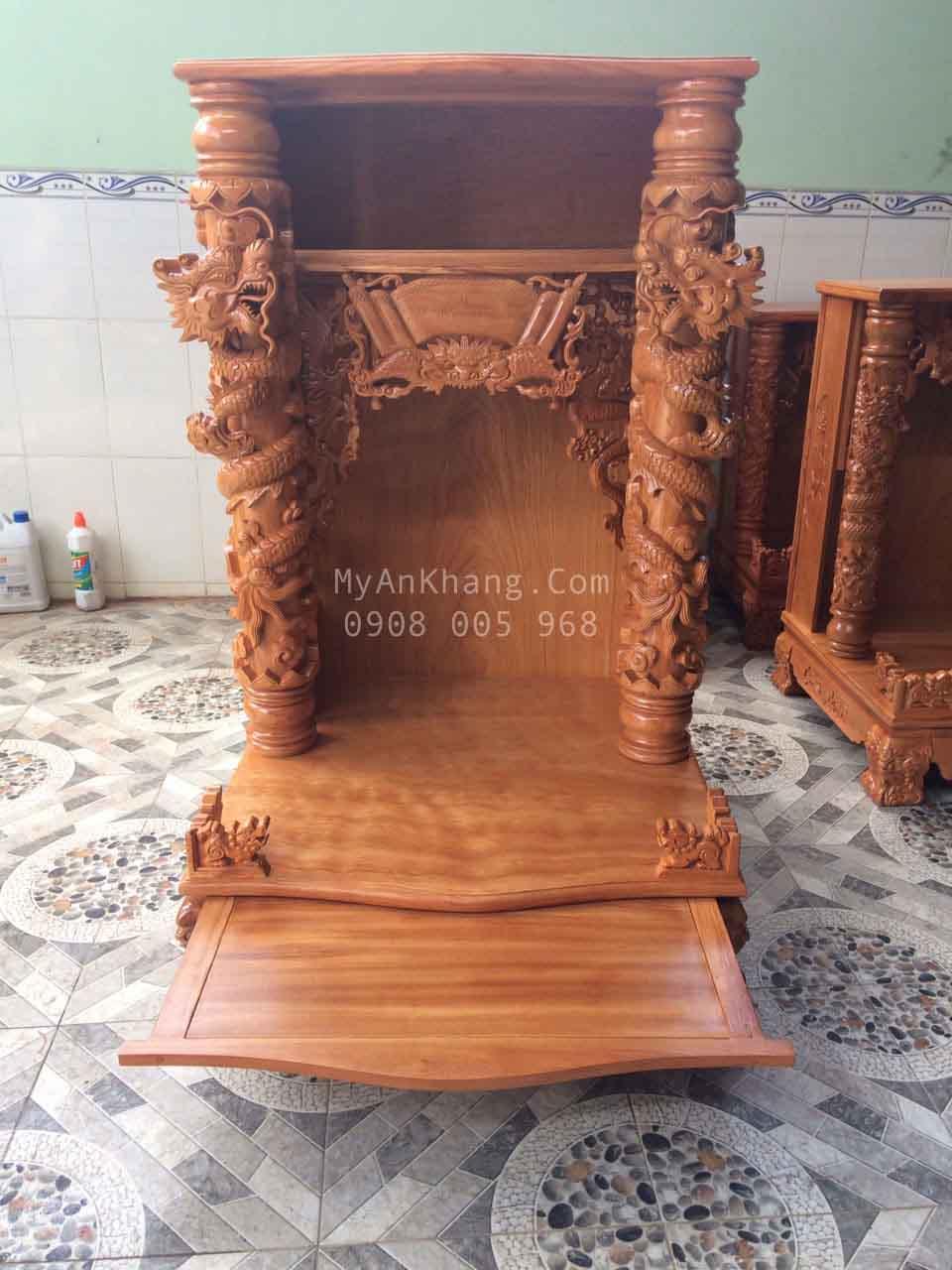 Bàn thờ thần tài gỗ gõ đỏ đẹp BTOD038