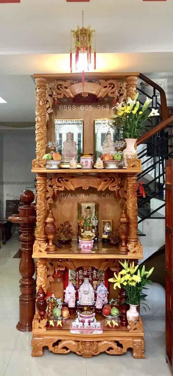 Bàn thờ 3 tầng đẹp ông địa ngồi
