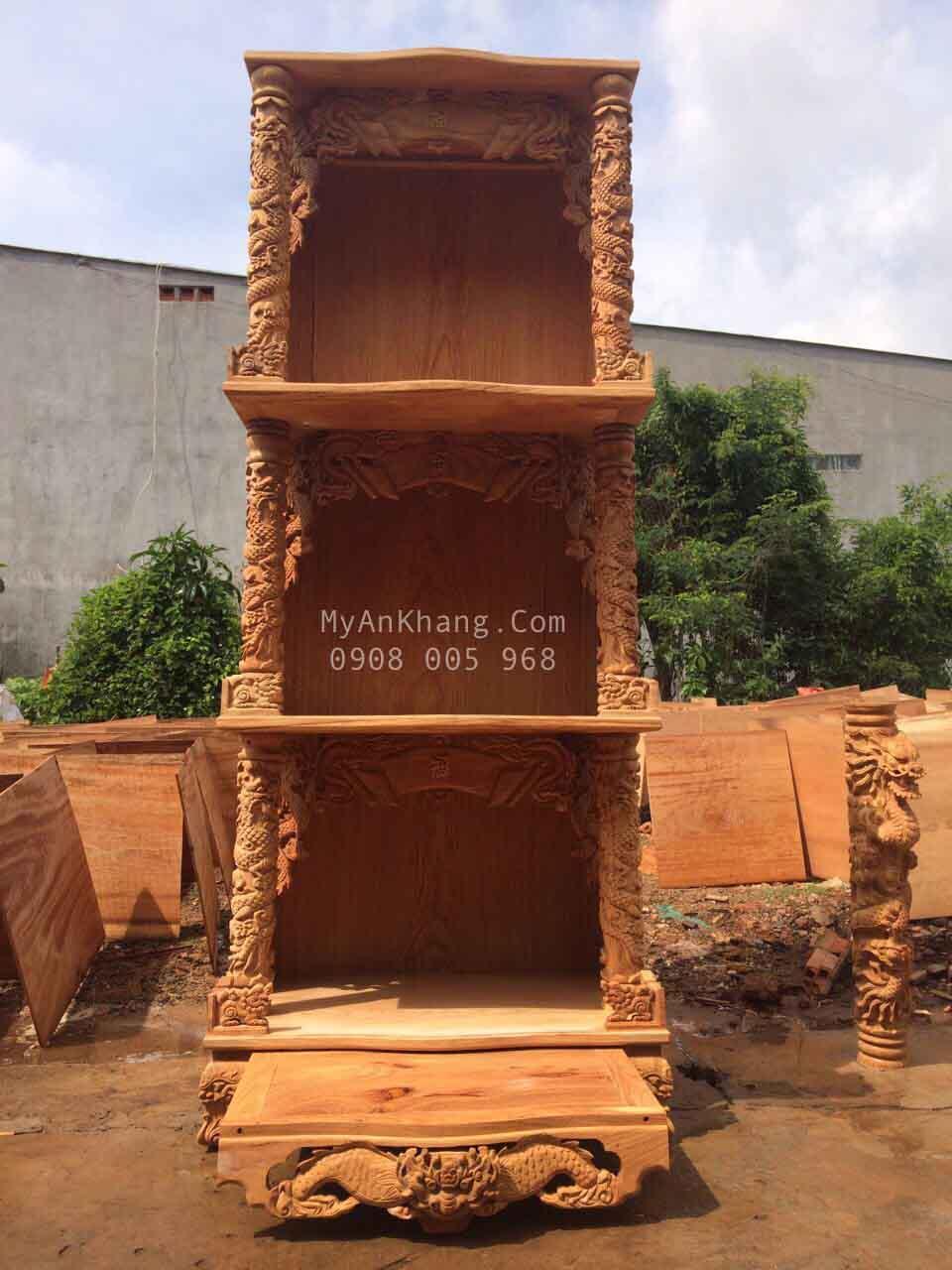 Bàn thờ 3 tầng ông địa thần tài gỗ gõ đỏ