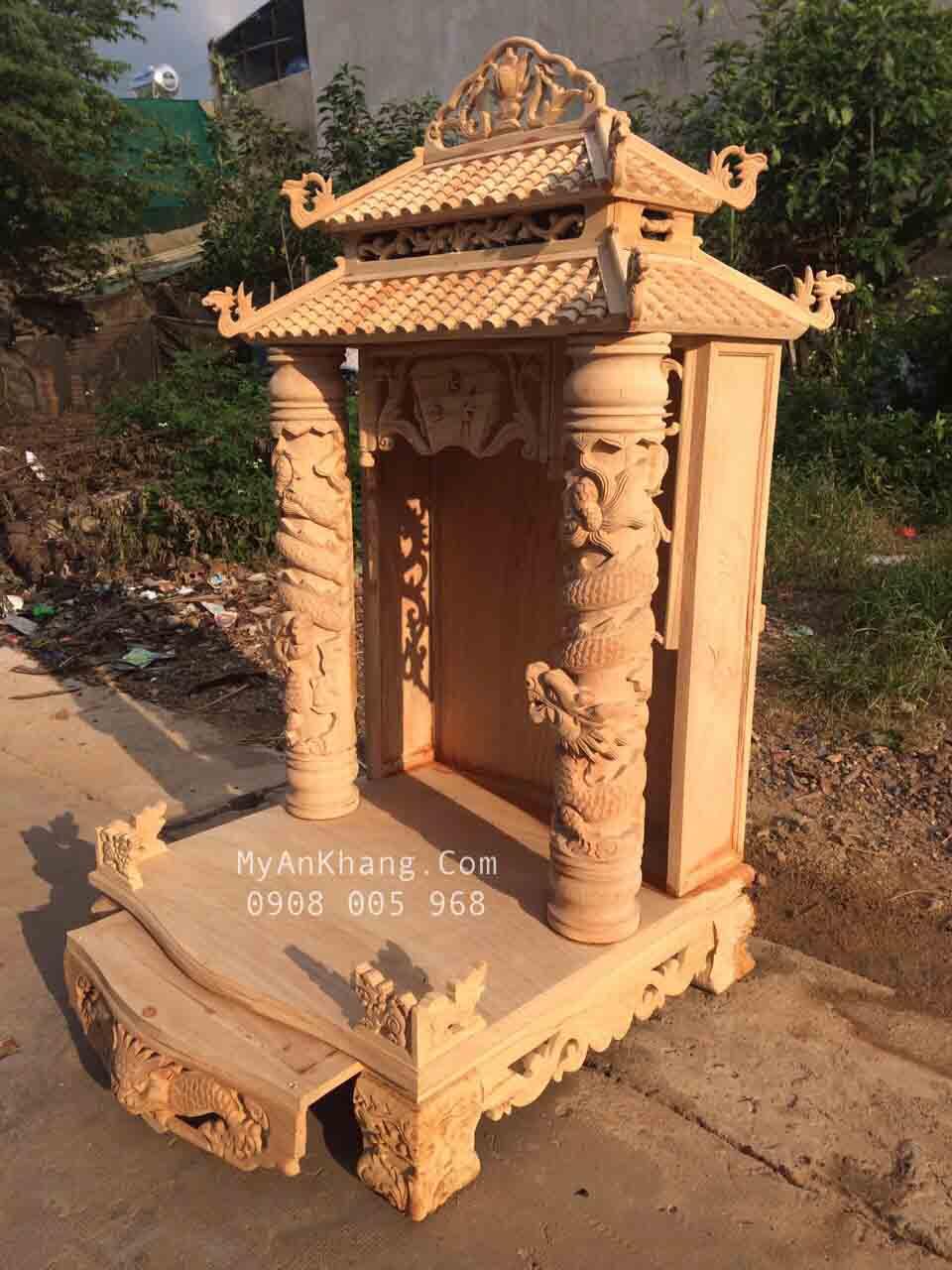 Bàn thờ ông địa mái chùa đẹp 81 x 81 gỗ gõ đỏ