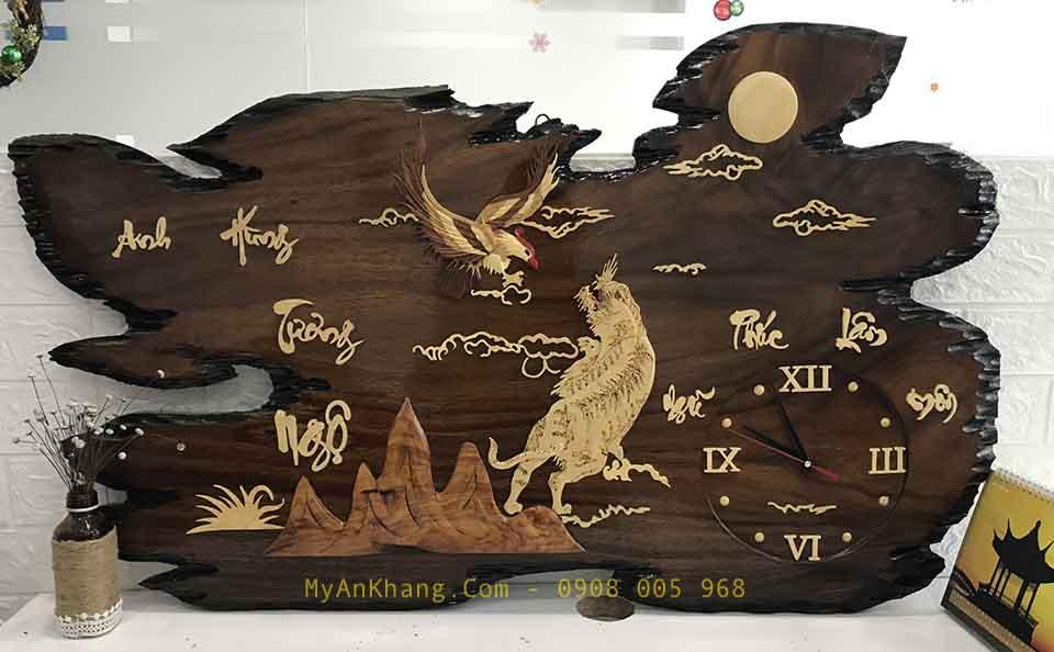 Đồng hồ gỗ treo tường chữ thư pháp đẹp