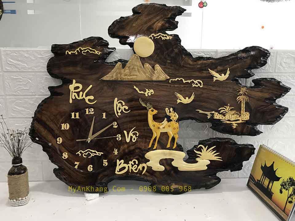 đồng hồ gỗ treo tường tranh chữ phúc lộc vô biên
