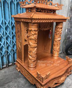 Trang thờ thần tài mái chùa gõ đỏ đẹp ngang 68
