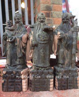 3 tượng tam đa gỗ mun đẹp cao 50cm