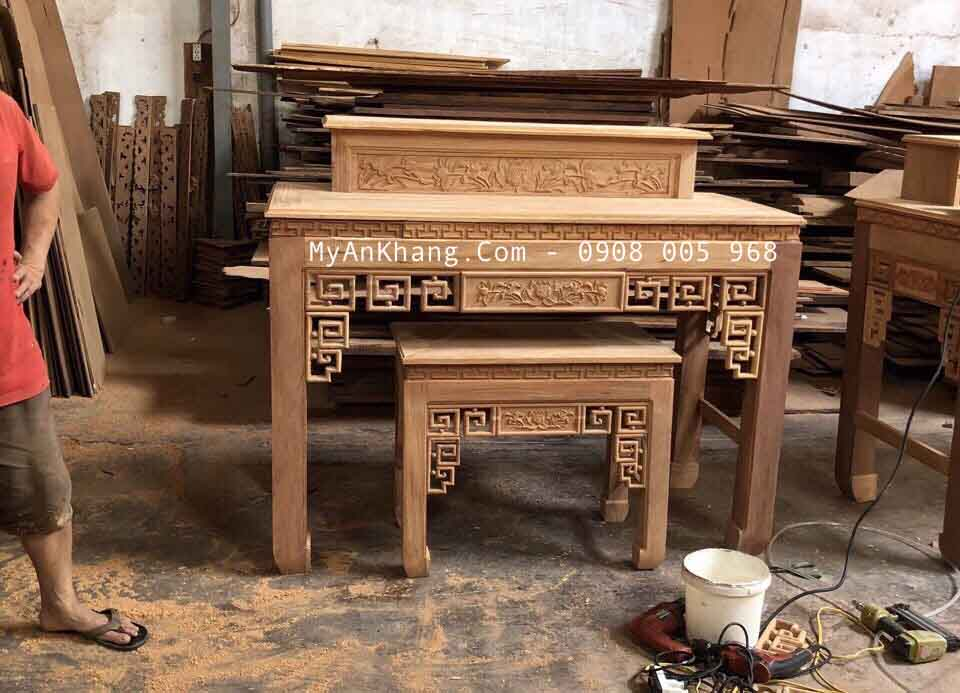 Bàn thờ gia tiên hiện đại gỗ gõ đỏ
